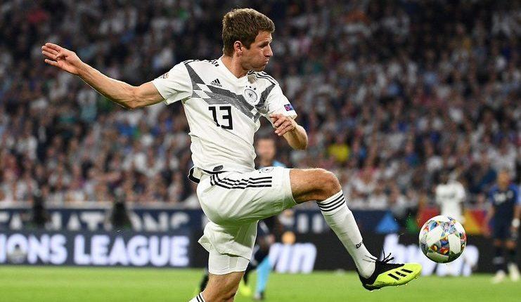 Thomas Mueller saat timnas Jerman melawan timnas Prancis.