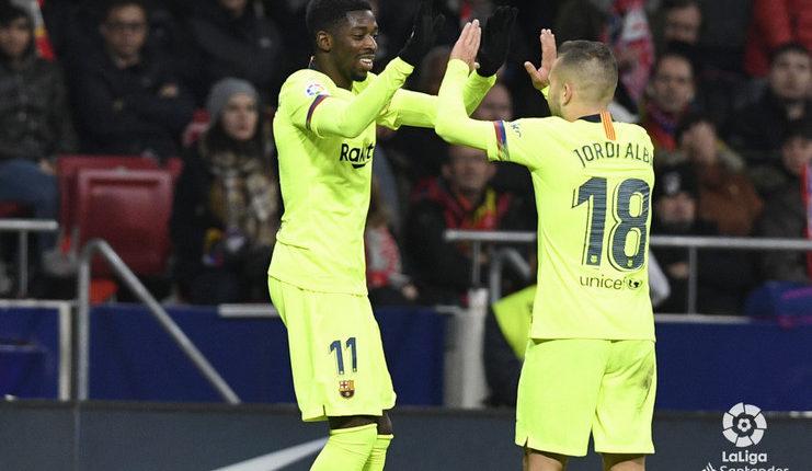 Ousmane Dembele rayakan gol vs Atletico bersama Jodri Alba