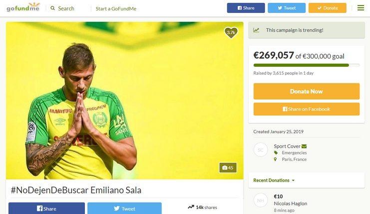 Sport Cover melakukan penggalangan dana untuk pencarian Emiliano Sala.