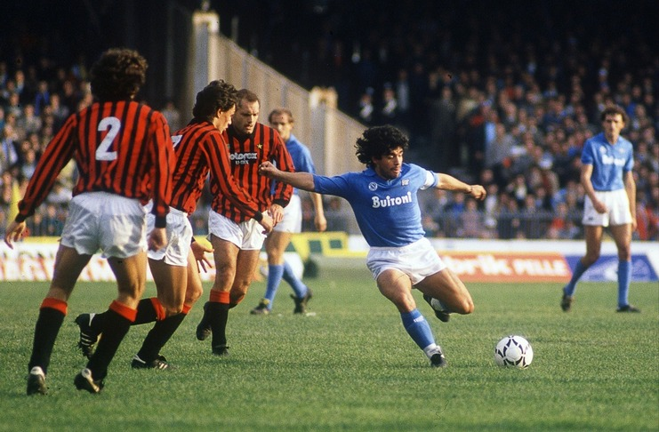 Diego Maradona Napoli vs AC Milan -interleaning