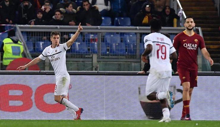 Krzysztof Piatek membuka skor dalam laga AS Roma vs AC Milan.