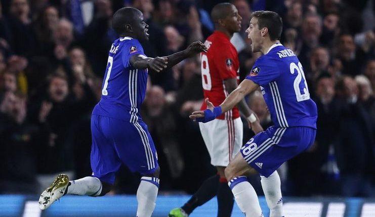 N'Golo Kante jadi pencetak gol tunggal dalam laga Chelsea vs Manchester United di Stamford Bridge pada Piala FA 2016-17.