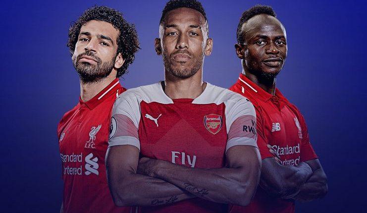 Mohamed Salah, Pierre-Emerick Aubameyang, dan Sadio Mane manjadi top skorer bersama Premier League 2018-19.