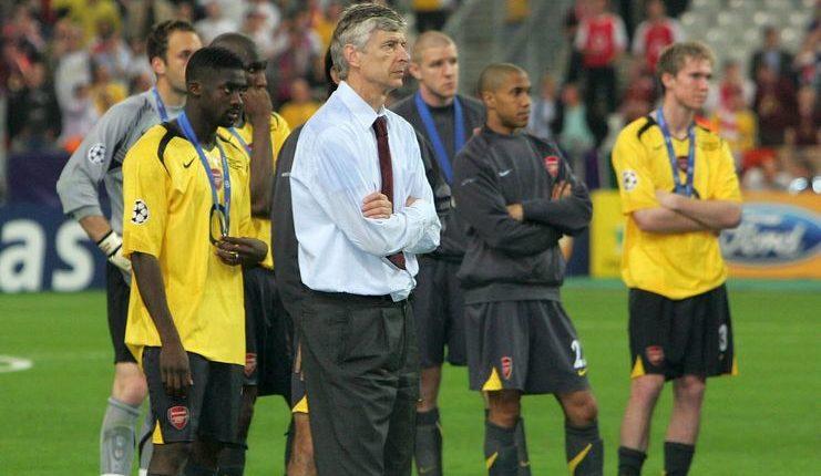 Arsenal sebagai klub debutan final Liga Champions 2005-06 kalah dari Barcelona.