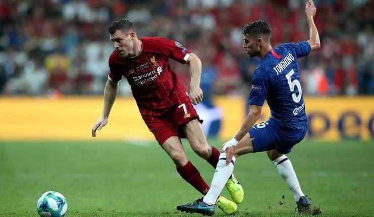 Jorginho memakai jersey dengan nama keliru saat Chelsea lawan Liverpool di Piala Super Eropa.