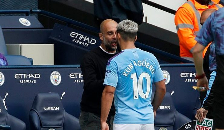 Pep Guardiola dan Sergio Aguero jelang laga Liverpool vs Manchester City.