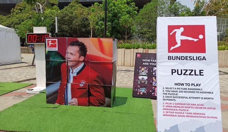 Tantangan puzzle yang harus ditaklukkan pengunjung di Bundesliga Experience.