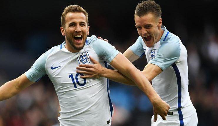 Harry Kane dan Jamie Vardy sempat berkolaborasi di timnas Inggris.